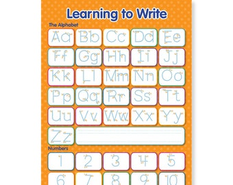 A3 Laminated NEW Learning to Write Letters and Numbers Educational Poster