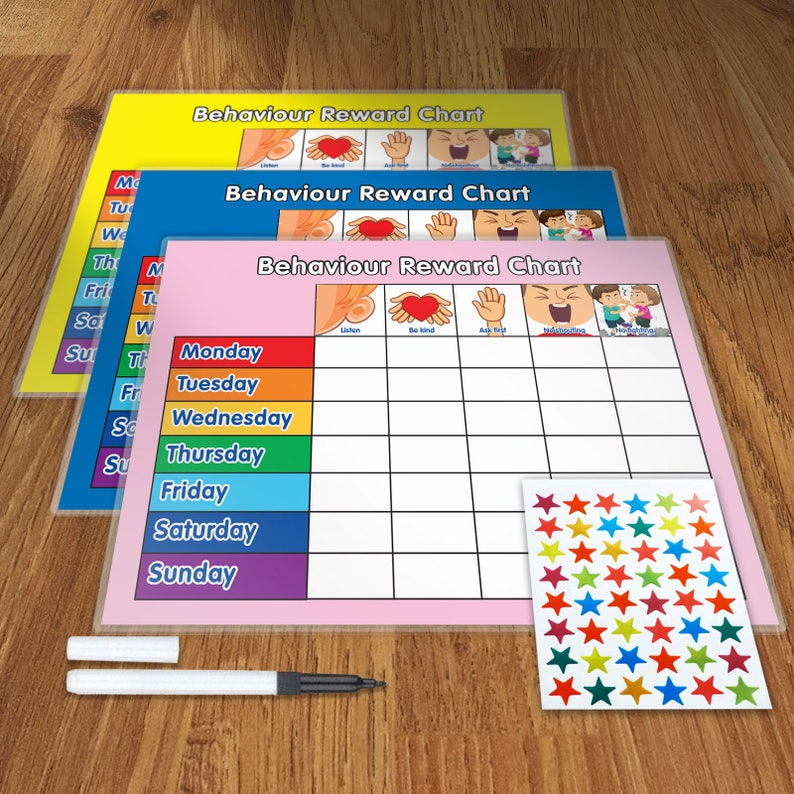 Re-usable Behaviour Reward Chart including FREE Stickers and image 1
