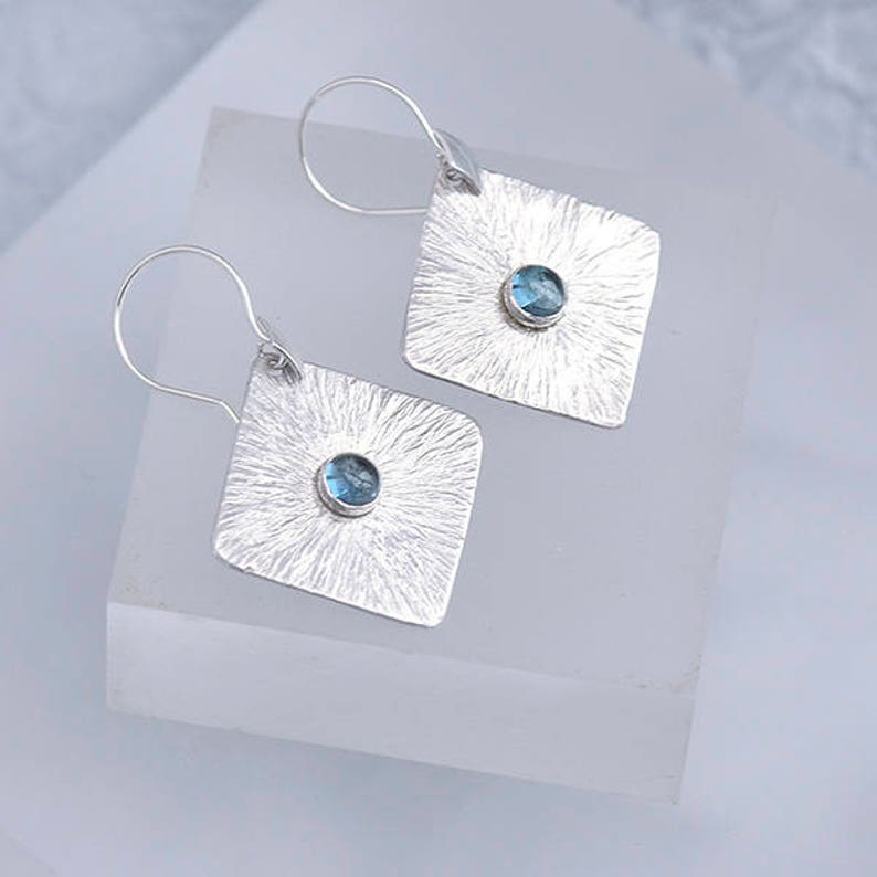 Silver and Topaz Earrings Sterling Silver Earrings with Topaz image 0