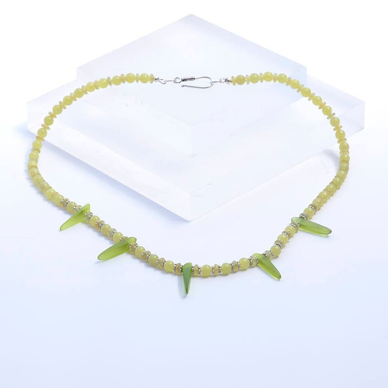 Green Cultured Sea Glass Necklace Silver & Green Bead image 0