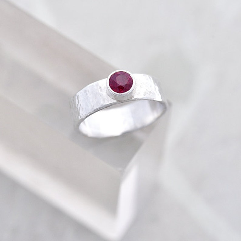 Wde Band Ruby Ring Size P Hammered Wide Band Silver Ring with image 0
