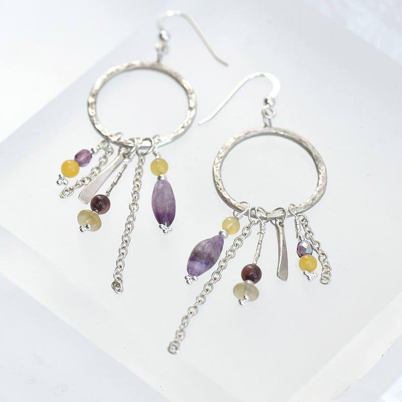 Beaded Silver Hoop Earrings with Cluster of Semi-Precious image 0