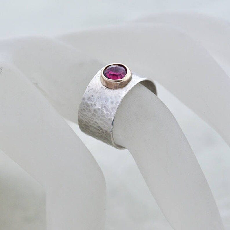 Ruby Ring Size M Textured Wide Band Silver Ring Size 6 with image 0