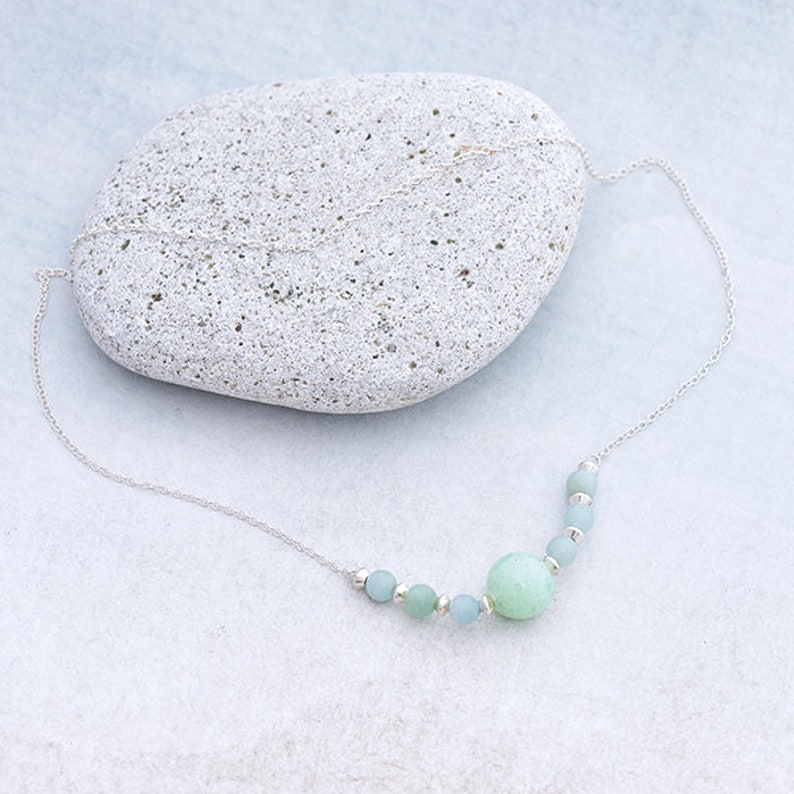 Aquamarine Necklace with Jade and Sterling Silver Beads on image 0