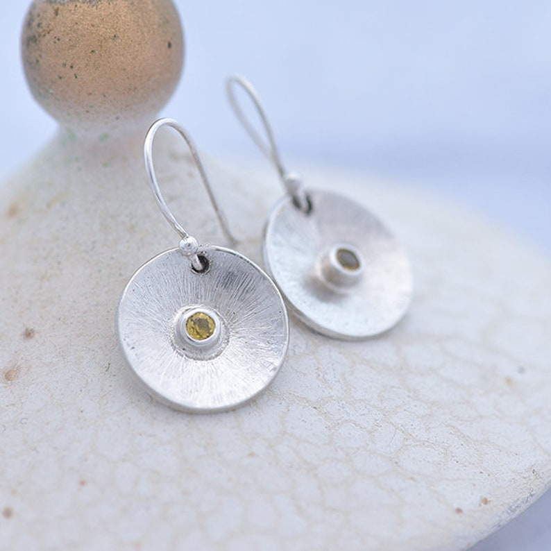 Round Silver and Sapphire Earrings Sterling Silver Earrings image 0