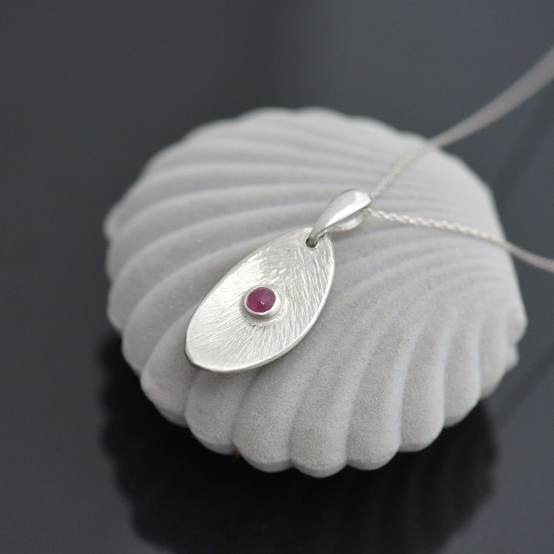 Ruby Necklace Pendant with Ruby Gemstone Silver and Ruby Pendant July Birthstone Pendant Leaf Shape Silver Pendant with Ruby