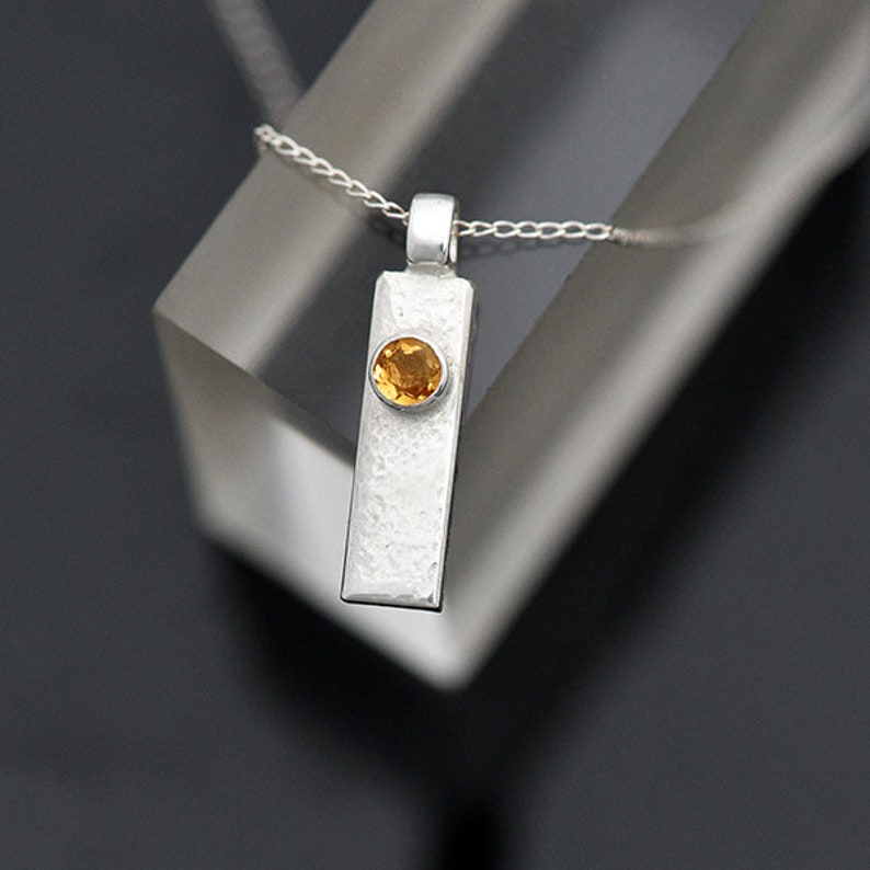 Silver and Citrine Pendant Sterling Silver Pendant with image 0