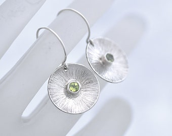 Peridot Earrings, Green and Silver Round Hammered Earrings, Round Silver Earrings with Peridot, Peridot Jewelry, Jewelry August Gift for Her