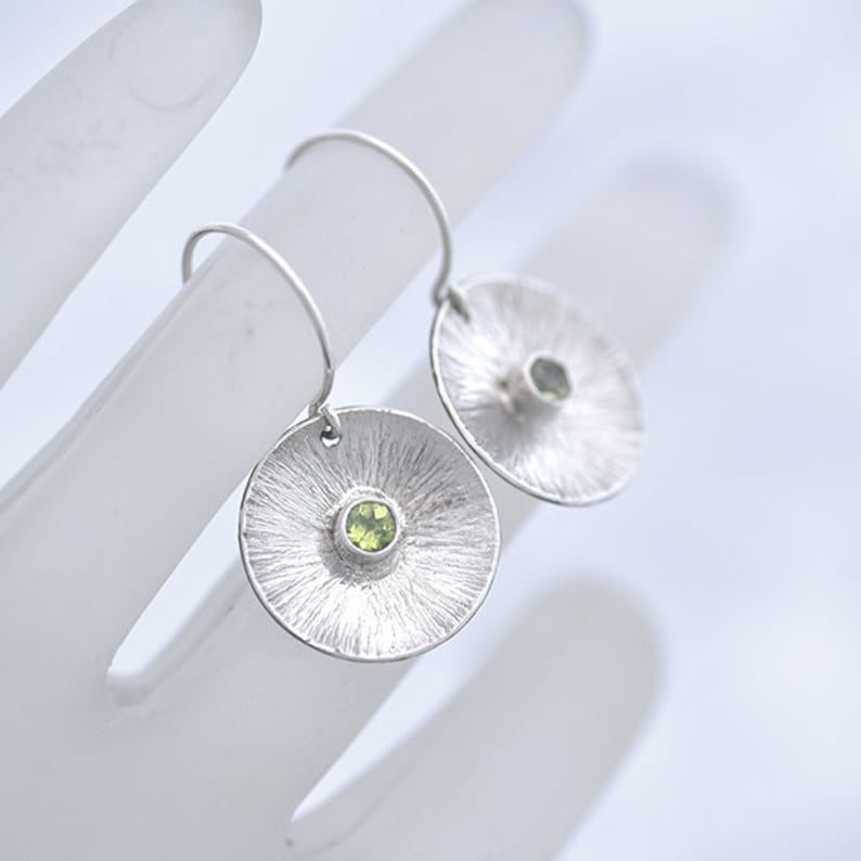 Round Silver and Peridot Earrings Sterling Silver Earrings image 0