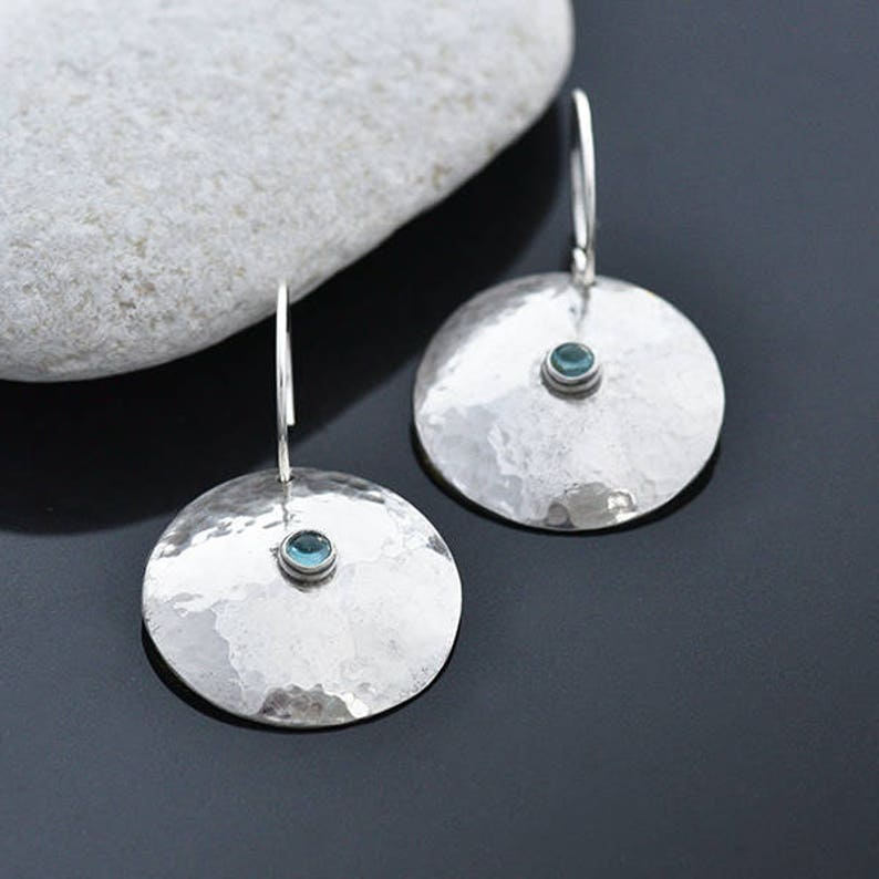 Round Silver and Topaz Earrings Sterling Silver Earrings with image 0