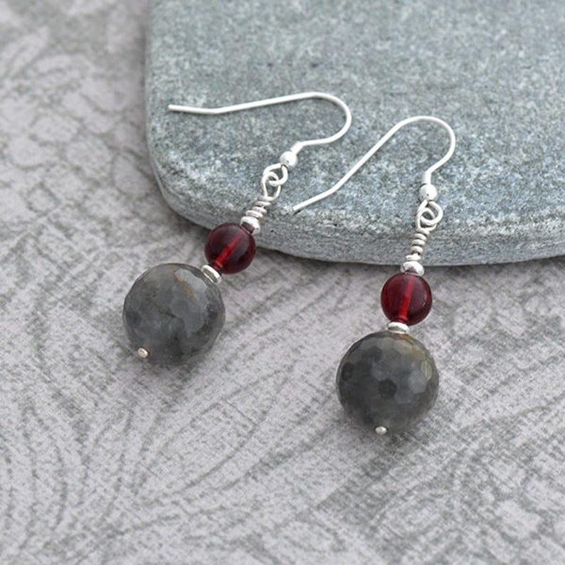 Grey Quartz Earrings Silver Earrings with Smokey Quartz and image 0