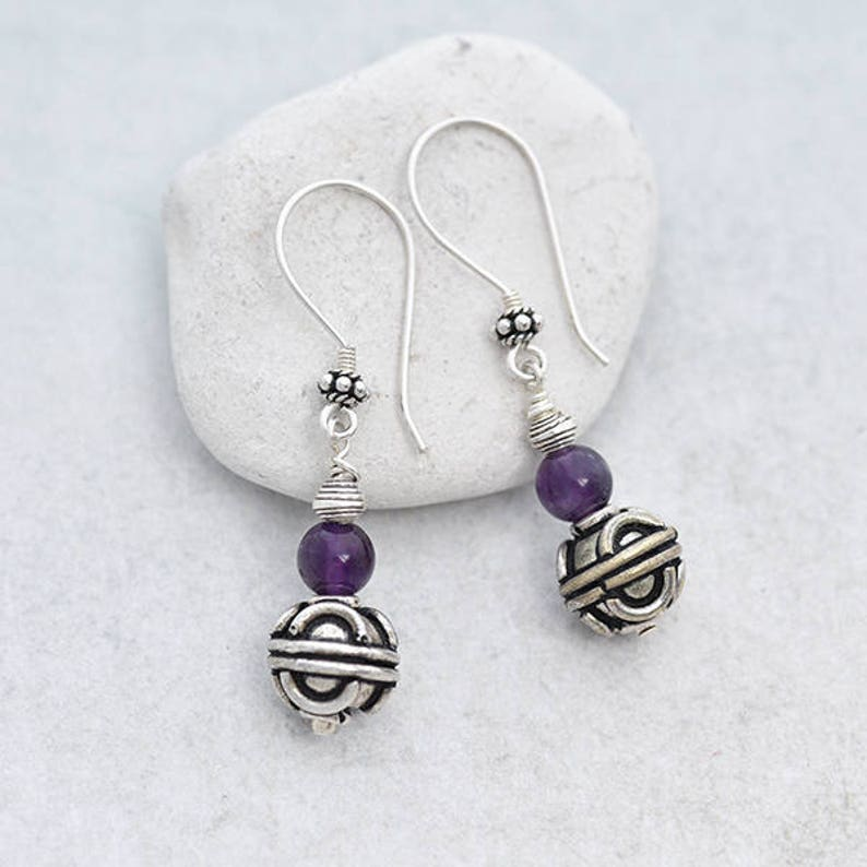 Silver Bead Earrings with Amethyst Bead Silver Seed Pod image 0