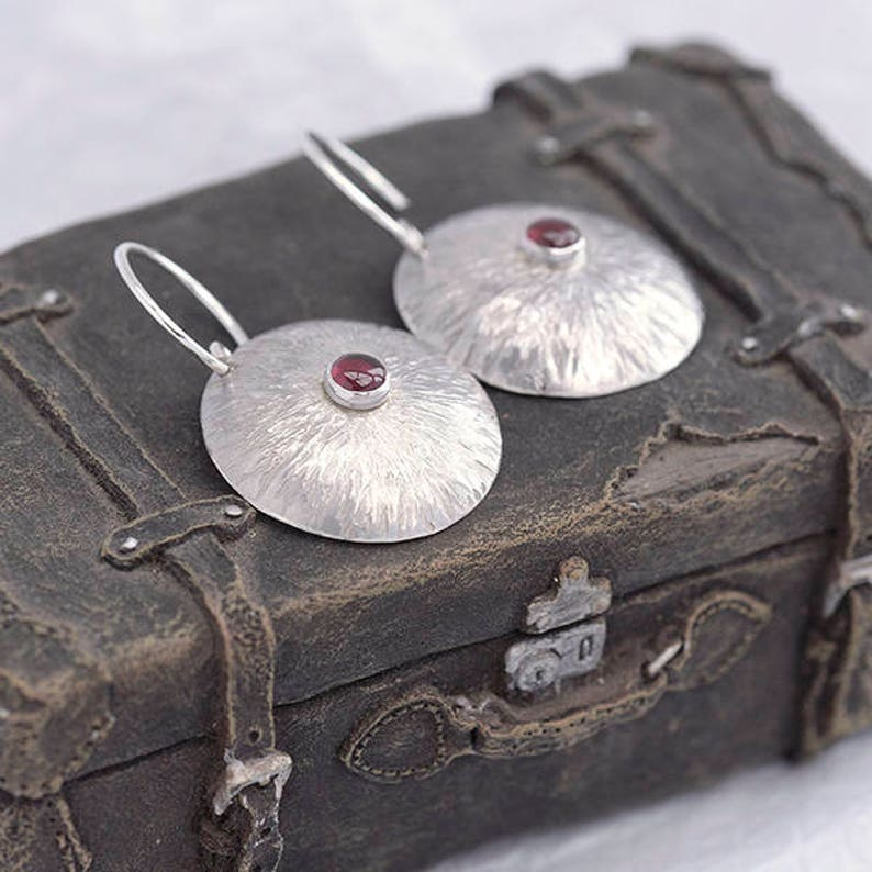 Round Silver and Garnet Earrings Sterling Silver Earrings image 0