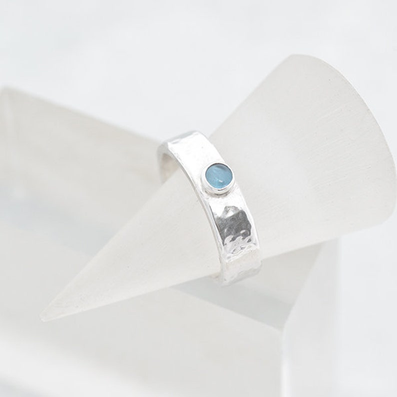 Blue Topaz Ring Sterling Silver Ring Topaz Gemstone December image 0