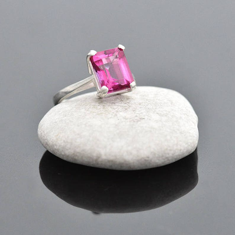 Pink Topaz Ring Size M Silver Ring with Pink Topaz Sterling image 0