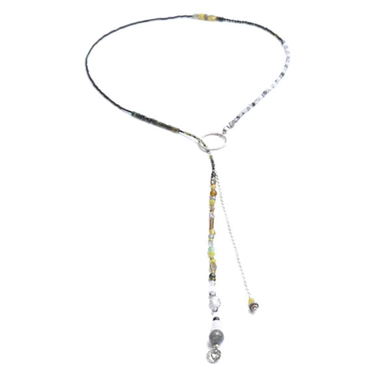 Lariat Necklace with Sterling Silver and Semiprecious Beads image 0