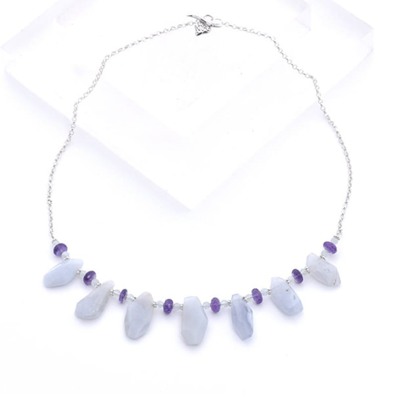 Ice Blue Agate Necklace with Amethyst & Aquamarine Pale Blue image 0