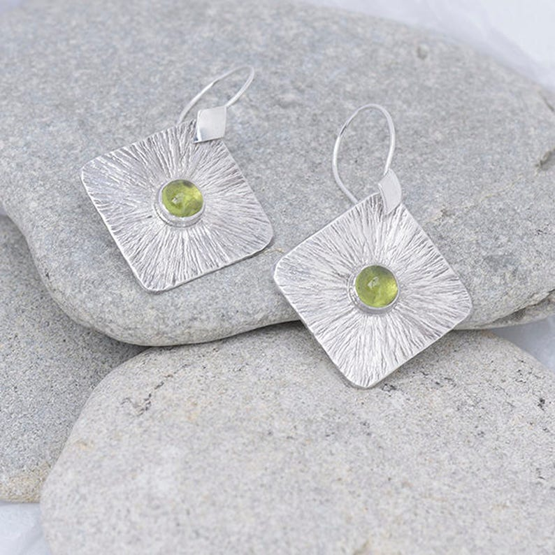 Square Silver and Peridot Earrings Sterling Silver Earrings image 0