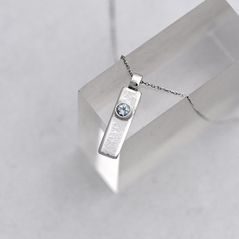 Silver and Topaz Pendant Sterling Silver Pendant with Blue image 0