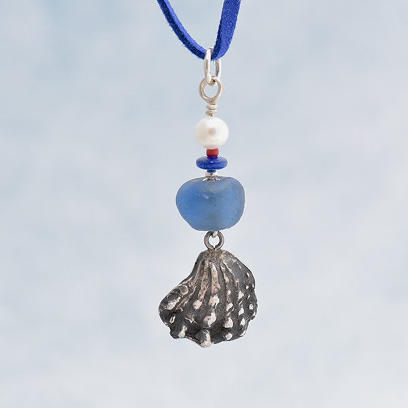 Silver shell Pendant with Blue Glass Bead Silver Seashell image 0