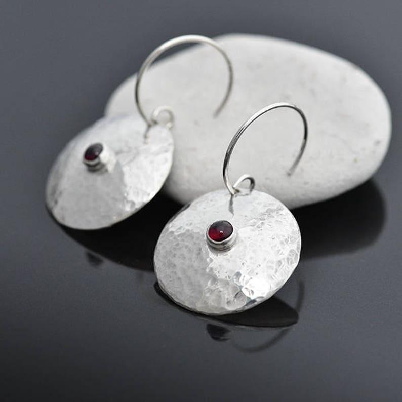 Round Silver and Garnet Earrings Sterling Silver Earrings image 0