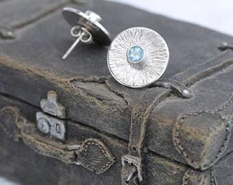 Blue Topaz Earrings, Topaz Stud Earrings, Silver Stud Earrinsgs, Round Stud Earrings, Topaz Jewelry, December Birthstone Blue Gift For her