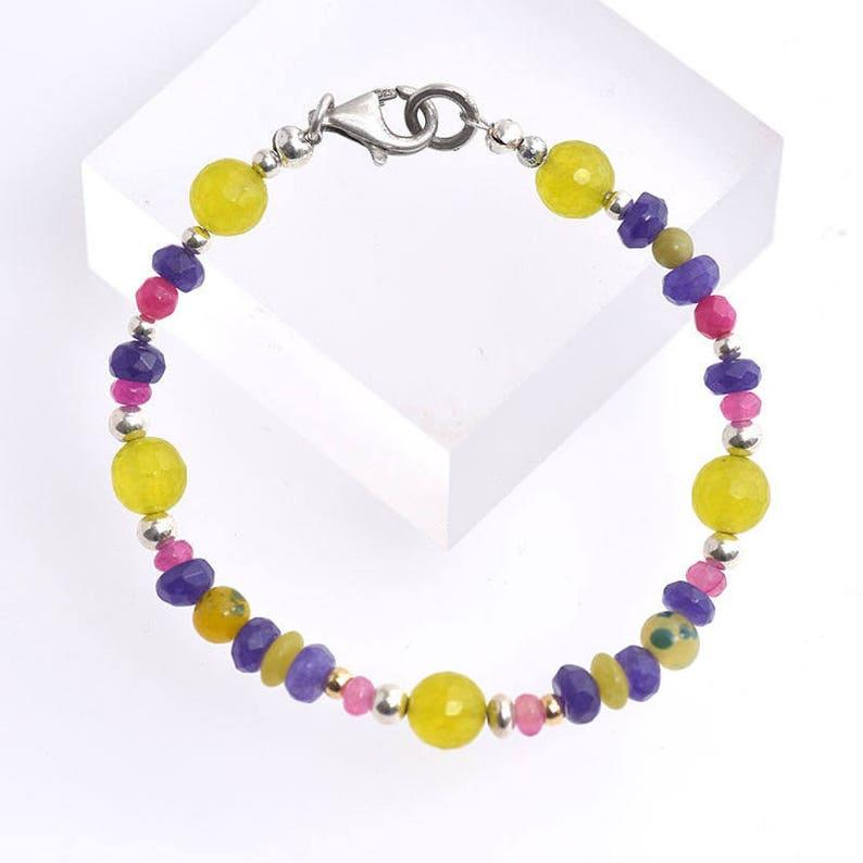 Mixed Semi-precious Beaded Bracelet Multicolour Bracelet image 0