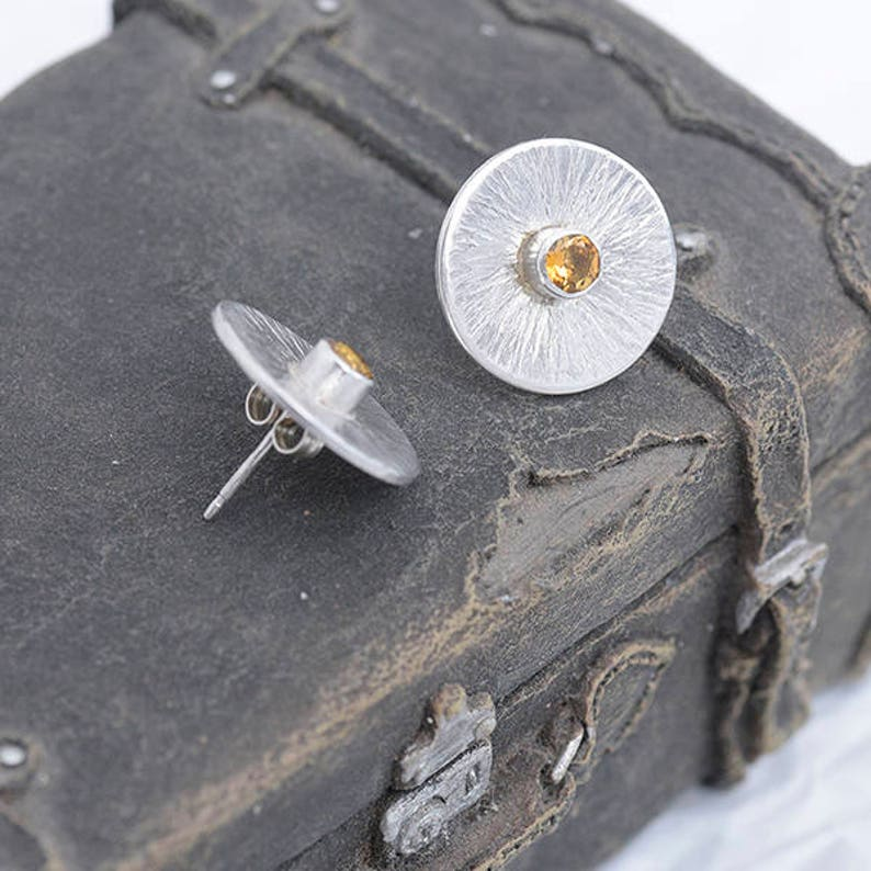 Citrine Stud Earrings Round Sterling Silver Earrings with image 0