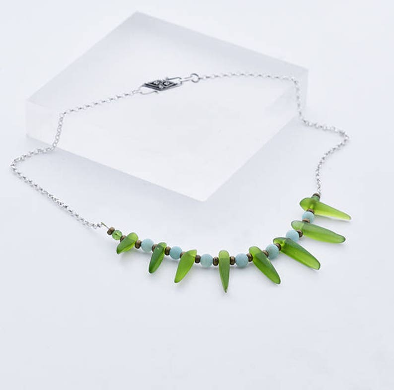 Cultured Green Sea Glass Necklace Green Glass Necklace with image 0