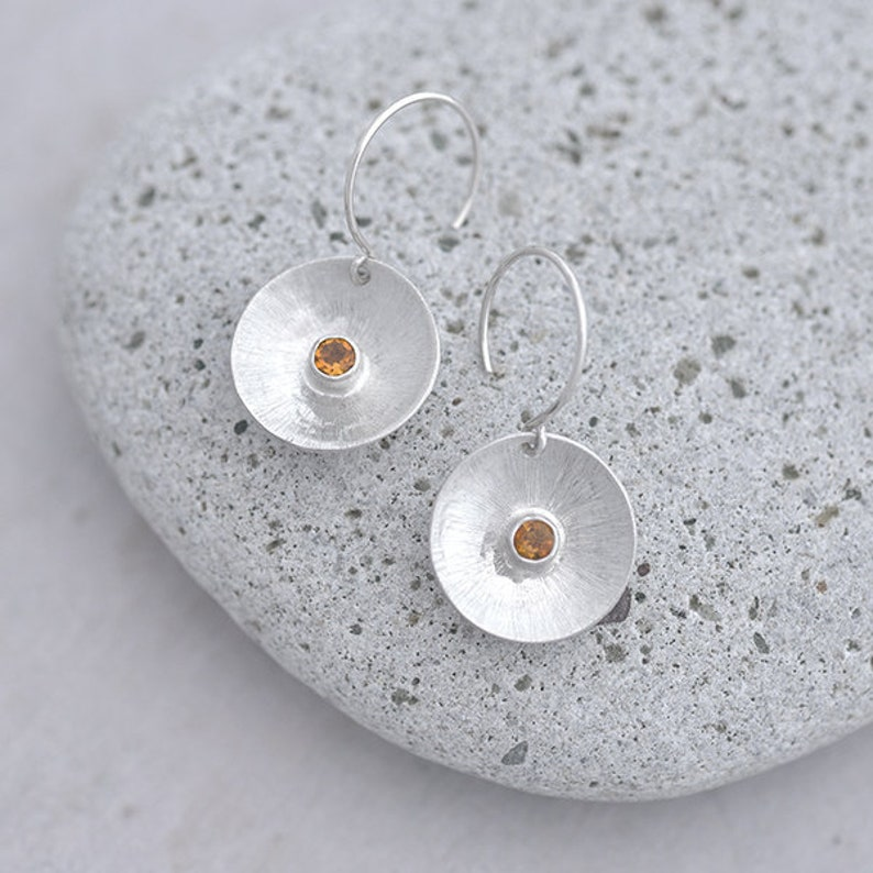 Round Silver and Citrine Earrings Sterling Silver Earrings image 0