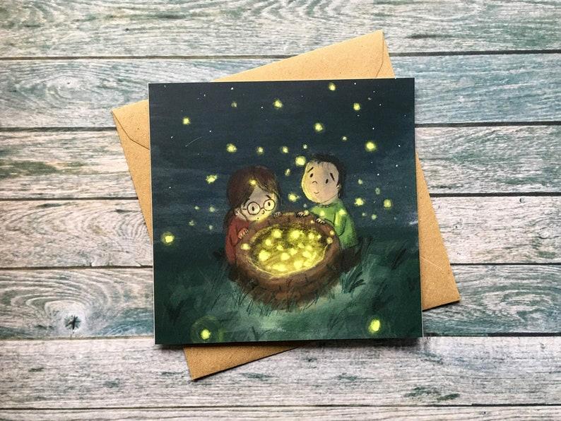 Fireflies Greetings Card  148mm x 148mm image 0