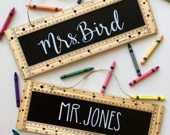 Teacher Sign • Personalized • Classroom • Education • Gift • School • Ruler • Chalkboard • Senior • Graduation