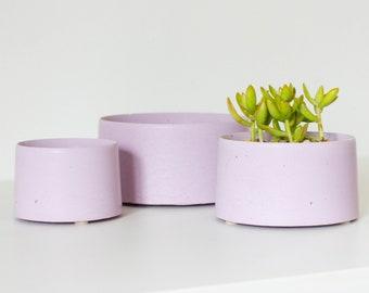 Concrete Planter for Succulents and Cactus - Lavender Purple