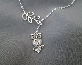 Owl and Branch Lariat Necklace