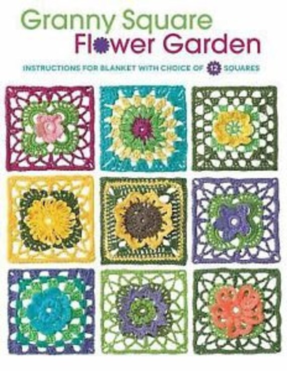 Granny Square Flower Garden Instructions Pattern Book For Granny Squares Crochet Blanket Brand New