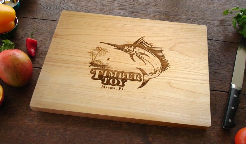 Marlin Cutting Board Custom Engraved With The Name Of Your Boat