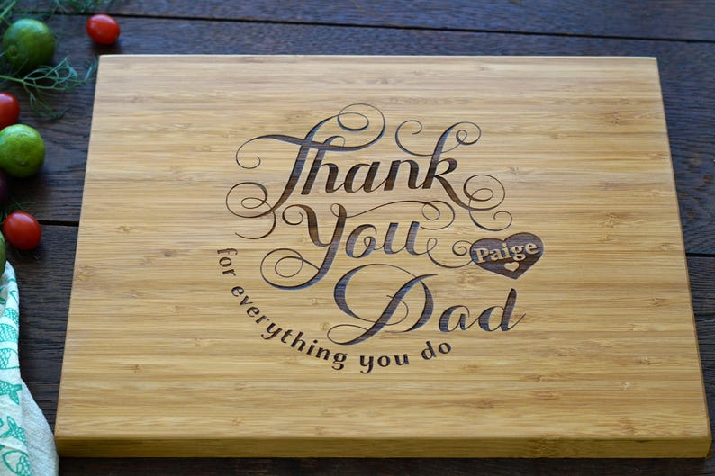 Personalized Fatherss Day Cutting Board Thank You Dad
