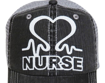 the latest 5cef6 a28c4 White Glitter Nurse Distressed Look Grey Trucker Cap