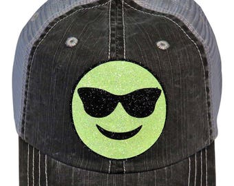 c714d9676cc56 Neon Yellow Black Glitter Smiley Face Sunglasses Emoji on Distressed Look  Grey Trucker Cap