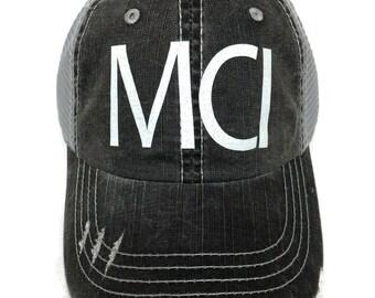 542853466438c White Glitter vinyl MCI Kansas City Airport Code Distressed Look Grey Trucker  Cap Hat Missouri