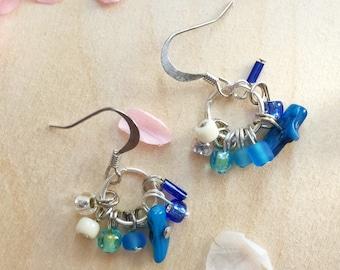 Minimalist Earring, Ombre Jewelry, Ombre Earring, Beach Jewelry, Dainty Earrings, Blue Earrings, Handmade Earrings, Simple Blue earrings