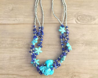 Beach Necklace, Turquoise Natural Stones, Boho jewelry, Stars Necklace, Chipped Stones, Natural Beads Necklace, Blue Jewelry, Blue necklace