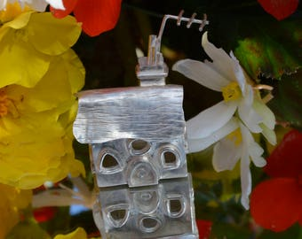 Sterling silver thatched cottage christening box