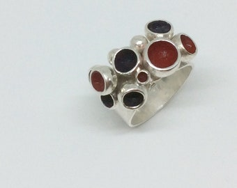 Sterling silver red & purple enameled bubble ring