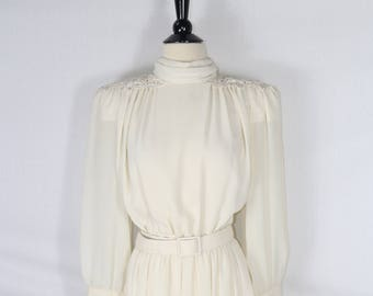 Vintage Cream Dress w/ Shoulder Pads and Rhinestone Lace Epaulets - 10
