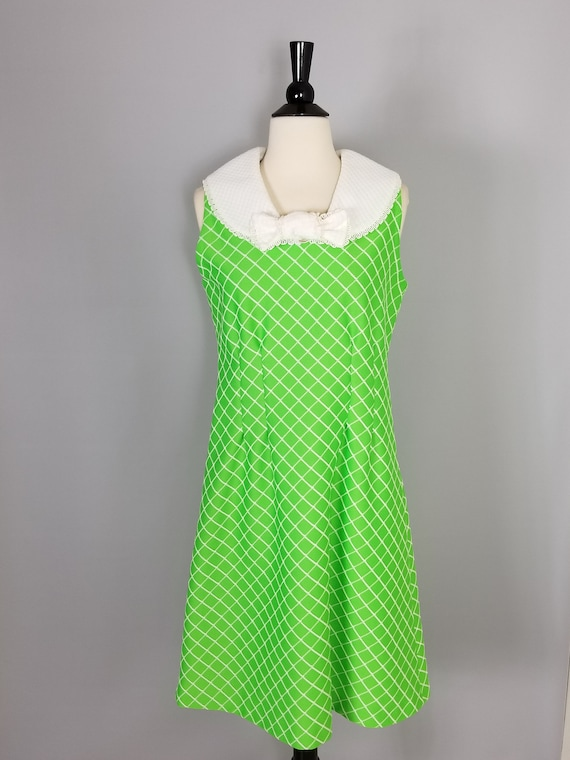 Vintage Lime Green MOD Skater Dress 60s 70s