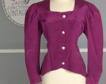 Vintage Edwardian Inspired Puff Sleeve Blazer - Large