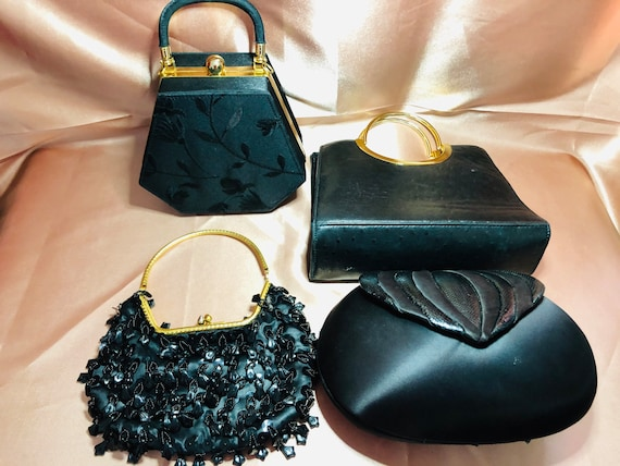 Vintage 5pc Gold and Black Handbag Purse Lot