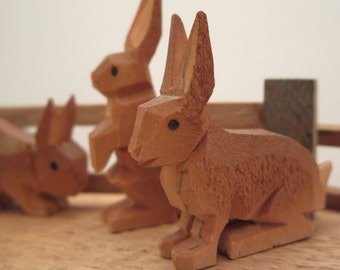 MINIATURES WOODEN FIGURINES, Germany, Woodcarving, Ornaments, handcrafted, Erzgebirge, Pig, Rabbits, Wood toys, Handmade toys, Gift