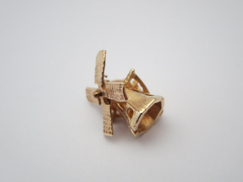 Holland Jewelry 10K Gold 10K GOLD CHARM PENDANT Spinning Bracelet Charm Necklace pendant Windmill Miniature Gift